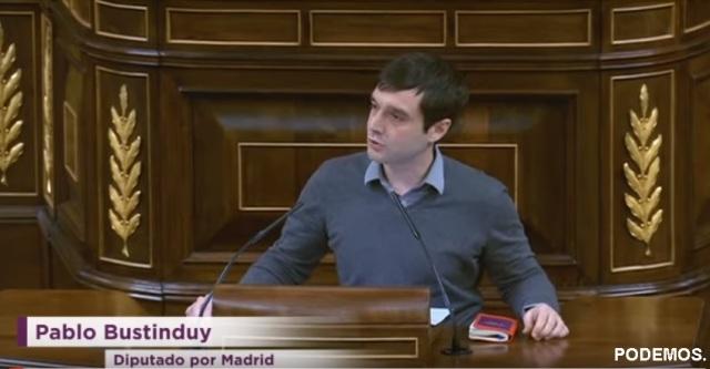 Pablo Bustinduy, diputado de PODEMOS en el Congreso de los Diputados en Madrid, España.